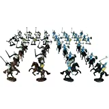 TYCBOY 56 Pieces Colorful Middle Ages Military Figures Soldier Knight Horses Army Toys Set Infantry Archer Warriors Sword&Shi