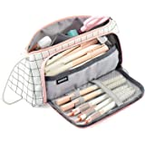Pencil Case, Big Capacity Pencil Pen Case Bag Pouch Holder for Middle High School Office College Stationery with Zipper (Pink