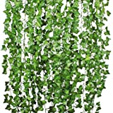Giftale 168 Feet 24 Strands Artificial Ivy Leaf Plants Vine Hanging Garland Foliage Flowers Home Kitchen Garden Office Weddin
