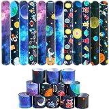 Lorfancy 48 Pcs Space Slap Bracelets Space Toys with Planet Design Kids Bracelets Snap Bands Class Prize Outer Space Party De