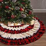 yuboo Ruffle Christmas Tree Skirt, 48 inches Buffalo Plaid&Burlap 6-Layer Rustic Xmas Tree Holiday Decorations