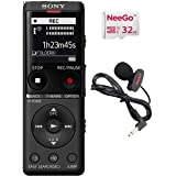 Sony Digital Voice Recorder UX Series, 4 GB Built-in Storage, Expandable via MicroSD, Includes A NeeGo Lavalier Lapel Mic and