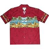 KYS Men Aloha Shirt Vintage Cars Surf Palm