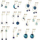 SAILIMUE 10 Pairs Clip on Earrings for Women Teens Dangle Earrings Clip Cute Moon and Star Earrings Non Pierced Ear Clip Set
