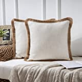 """Phantoscope Pack of 2 Farmhouse Burlap Linen Trimmed Tailored Edges Throw Pillow Case Cushion Covers with Tassel 18"""" x 18"""" 45"""