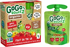 GoGo Squeez Organic Apple Strawberry, 90.7g (Pack of 4)