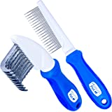 Horicon Pet 2 in 1 Dematting Razor Comb and 37 Pin Detangling Pet Comb Set - Removes Knots, Matted Fur, & Tangles Gently for