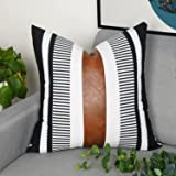 Adabana Faux Leather Pillow Cover 18 x 18 Inch Decorative Modern Stripe Accent Pillowcase Cushion Cover for Couch Sofa Bedroo