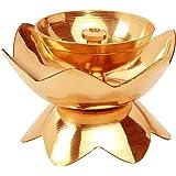 "Avador Handmade Brass Indian Puja Oil Lamp, Golden Diya Lamp Engraved Design Diya for Diwali Pooja (Kamal Deep 1"" Set of 4)"