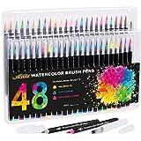 VACNITE 水彩毛筆 カラー筆ペン 48色セット 水性筆ペン 水彩ペン 絵描き 塗り絵 アートマーカー 美術用 事務用 画材 子供用画材 収納ケース付き