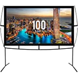 Fast Assembly Design - No Tools Needed - Jumbo 100 Inch 16: 9 Portable Outdoor and Indoor Movie Theater Front and Rear Projec