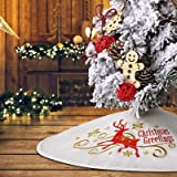 """yuboo Mini Tree Skirt, 21"""" White Christmas Tree Skirt with Embroidered Elk for Xmas Decorations"""