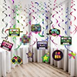 80s Party Decorations Kit, 80's Retro 1980s Party Hanging Swirls Ceiling Decorations Foil Double Spiral 80's Hip Hop Sign Han