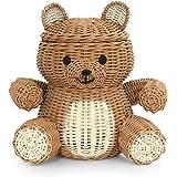 G6 COLLECTION Bear Rattan Storage Basket with Lid Decorative Bin Home Decor Hand Woven Shelf Organizer Cute Handmade Handcraf