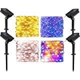 Outdoor Solar String Lights 4-Pack Each 72FT 200LED Solar Powered Fairy Lights with 4 Different Color Include Warm, White, Ra