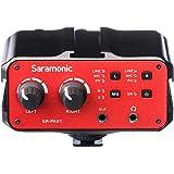 Saramonic SR-PAX1 2チャンネルオーディオミキサー/プリアンプ/マイクアダプター ファンタム電源、デュアルXLR、6.3mm、3.5mm入力+ 3.5mm出力のデジタル一眼レフカメラ、ミラーレスまたはビデオカメラ用