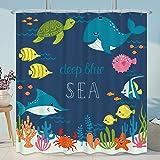 Cdcurtain Cartoon Underwater Sea Animal Shower Curtain Metal Hooks 12-Pack Deep Ocean Starfish Sea Turtle Blue Kids Decor Fab