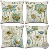 GHSJYO Waterproof Throw Pillow Covers, 4 Pack Square Floral Pillowcase for Chair, Deco Indoor Outdoor 18 x 18 Inches Retro Pr