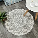 Uphome Round Area Rug 3' Diameter with Chic Pom Pom Fringe Boho Gray Mandala Velvet Accent Throw Rugs Non-Slip Soft Floor Car