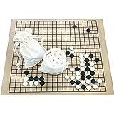 囲碁 セット ( 碁石 囲碁盤 ) 碁石 : 厚み約9mm メラミン樹脂製碁石 スペア碁石(各3粒)付き 碁盤 : 19路盤 と 13路盤 44×49cm の 表裏使える リバーシブル仕様 人工皮革製 初心者 入門者 中級者に最適 収納便利 囲碁教室