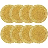 Cotton Craft - Set of 8-4 Inch Round - Gold- Hand Crafted Beaded Coaster Set- A Beautiful complement to Your Table décor