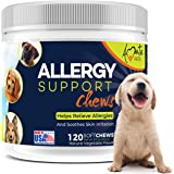 Allergy Relief Immune Supplement for Dogs - Soft Chews for Dog itching Skin Relief and Seasonal Allergies with Kelp, Colostru