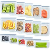 Reusable Storage Bags (10 Sandwich Bags), (5 Snack Bags), Waterproof, Freezer Safe, Leakproof Silicone, and Plastic Free Zipl