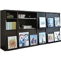 JKプラン ディスプレイラック 本棚 フラップ 扉 2個組 ディスプレイ本棚 フラップ本棚 雑誌 マガジン 本 ブラウン…
