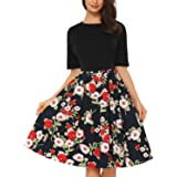 Mixfeer Women's Vintage Midi Dress Floral Scoop Neck Short Sleeve Casual Work Cocktail Party Swing Dress with Pockets