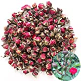 TooGet Fragrant Natural Deep Red Rose Buds Rose Petals Organic Dried Golden-rim Rose Flowers Wholesale, Culinary Food Grade -