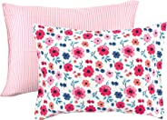 Touched by Nature Organic Cotton Envelope Toddler Pillow Cases 2pk, Garden Floral, One Size