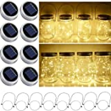 StarryMine Solar Mason Jar Lid String Lights, 8 Pack 20 Led String Fairy Star Firefly Jar Lids Lights with 8 Hangers included