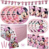 Pink Minnie Mouse Bowtique Birthday Party Supplies Set - Serves 16 - Banner Decoration, Table Cover, Dinner and Cake Plates,