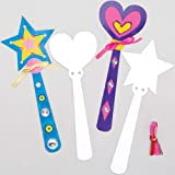 Baker Ross Make Your Own Princess Wand (Pack of 8) Card Blanks for Kids to Decorate, Arts and Crafts, Assorted, 23cm