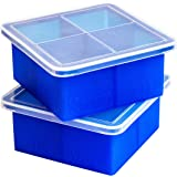 """Kelsey Adele King Cube Ice Tray with Lid - Premium Silicone Mold for 2"""" Large Cubes, Best For Whiskey Bourbon Scotch Lovers;"""