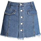 Itemnew Women's Mid Rise Frayed Raw Hem Button Front Denim Shorts Skirt Skort