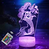 Nice Dream Mermaid Night Light for Kids, Mermaid Toys for Girl, 16 Color Changing Touch Night Lamp with Remote Control, Holid