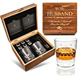 Anniversary/Birthday Gifts for Husband from Wife - Whiskey Stones Gift Set | Gifts for Men/Him | Crystal Whiskey Glass Set wi