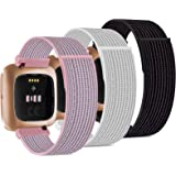 Pack 3 Nylon Loop Bands Compatible with Fitbit Versa 2, Fitbit Versa Lite, Fitbit Versa, Soft Adjustable Breathable Replaceme