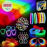 880 Pcs Glow Sticks Bulk Party Favors - Includes Multifunctional Connectors to Create Balls, Flowers, Glasses, Bracelets, Nec