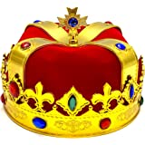 Adorox Regal King Crown Red Gold Plastic Crown Prince Costume Accessory Adult/Kid