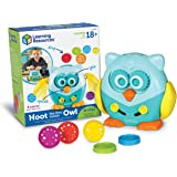 Learning Resources Hoot The Fine Motor Owl, Color, Shapes and Number Development, Sensory Toy, Scissor Skills, 6 Pieces, Ages