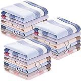 20 Piece Men's Cotton Plaid Handkerchief Soft Gift Set for Men, One Size