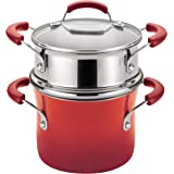 Rachael Ray Brights Sauce Pot/Saucepot with Steamer Insert, 3 Quart, Red Gradient