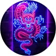 Chinese Dragon Room Display Dual Color LED Neon Sign Red & Blue 300 x 400mm st6s34-i3225-rb