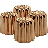 Darware Copper Canelé Pastry Molds (4-Pack); 2-Inch Bourdeaux French Custard Cannele Cake Traditional Pastry Baking Molds wit