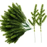 Alpurple 60 Packs Artificial Pine Needles Branches Garland-6.7x2.0 Inch Green Plants Pine Needles,Fake Greenery Pine Picks fo