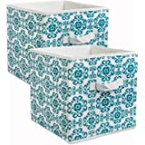 DII CAMZ38458 Foldable Fabric Storage Containers (Set of 2), Teal, Large, 2 Count