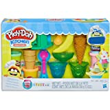 Play-Doh - Kitchen Creations - Ice Cream Party Playset - Inc 19 Acc and 6 Tubs of PlayDoh Dough - sensory and educational cra