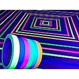GreyParrot Tape UV Tape Blacklight Reactive, (6 Pack), (6 Colors), 33ft Per Roll, Fluorescent Cloth Tape, UV Black Light Reac